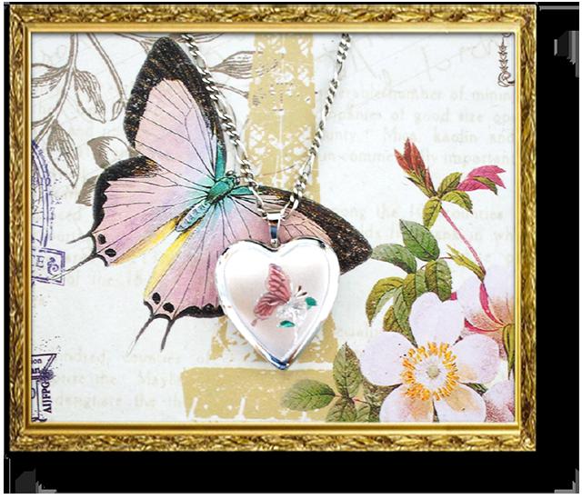 ペット写真 蝶のロケットペンダント